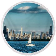 Evan's Chicago Skyline  Round Beach Towel
