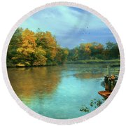 Evans Pond Round Beach Towel