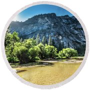 Round Beach Towel featuring the photograph Eve Approaches- by JD Mims