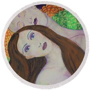 Eve Emerges Round Beach Towel by Kim Nelson