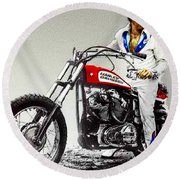 Evel Knievel Painting Full Color Large Round Beach Towel