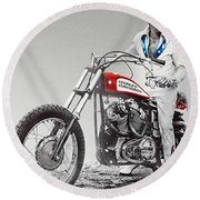 Evel Knievel Painting Spot Color Large Round Beach Towel