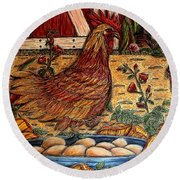 Even Chickens Can Be Heroes Round Beach Towel