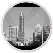 Even In #blackandwhite, The #skyline Of Round Beach Towel