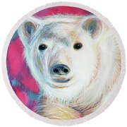 Even Polar Bears Love Pink Round Beach Towel