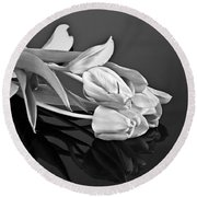 Even Tulips Are Beautiful In Black And White Round Beach Towel by Sherry Hallemeier
