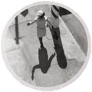 Even Your Shadow Dances On Mardi Gras Day Round Beach Towel