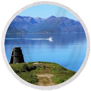 Evenes, Fjord In The North Of Norway Round Beach Towel