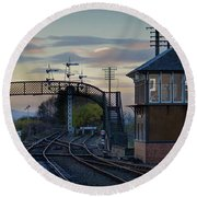 Evening At Bo'ness Station Round Beach Towel
