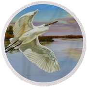 Evening At Campbell's Bayou Round Beach Towel by Phyllis Beiser
