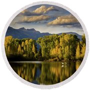 Evening At Indian Springs Round Beach Towel