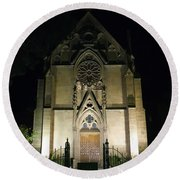 Round Beach Towel featuring the photograph Evening At Loretto Chapel Santa Fe by Kurt Van Wagner