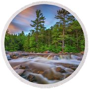 Evening At Lower Falls Round Beach Towel
