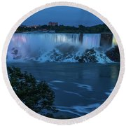 Evening At Niagara Falls, New York View Round Beach Towel by Brenda Jacobs