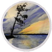 Evening At Petrie Island Round Beach Towel