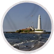 Evening At St. Mary's Lighthouse Round Beach Towel