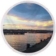 Round Beach Towel featuring the photograph Evening At The Bay by Nareeta Martin