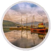 Round Beach Towel featuring the photograph Evening At The Dock by Roy McPeak