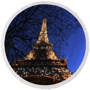 Round Beach Towel featuring the photograph Evening At The Eiffel Tower by Heidi Hermes