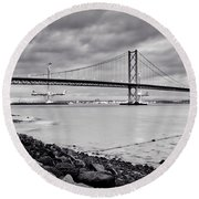 Evening At The Forth Road Bridges Round Beach Towel