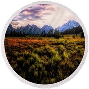 Evening At The Grand Tetons  ... Round Beach Towel