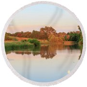 Round Beach Towel featuring the photograph Evening At The Lake by David Chandler