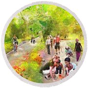 Round Beach Towel featuring the painting Evening At The Park by Wayne Pascall