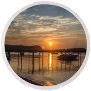 Evening At The Pier Round Beach Towel