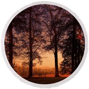 Evening Begins Round Beach Towel