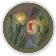 Evening Bloom Round Beach Towel