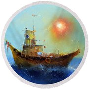 Evening Boat Round Beach Towel