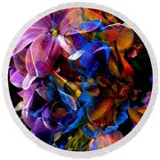 Round Beach Towel featuring the painting Evening Bouquet by Hanne Lore Koehler