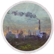 Evening By Industrial Site Round Beach Towel