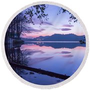 Evening By The Lake Round Beach Towel