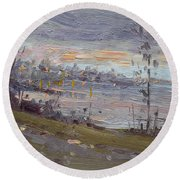 Evening By The River Round Beach Towel
