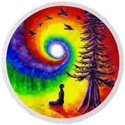 Evening Chakra Meditation Round Beach Towel by Laura Iverson