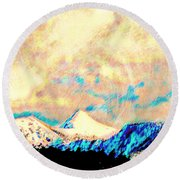 Evening Clouds Dispersing Over Sheep's Head Peak Round Beach Towel by Anastasia Savage Ealy