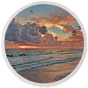 Round Beach Towel featuring the photograph Evening Clouds by HH Photography of Florida