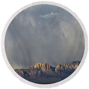 Round Beach Towel featuring the photograph Evening Drama Over The Organs by Kurt Van Wagner