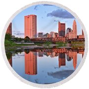 Round Beach Towel featuring the photograph Evening Falls In Columbus by Frozen in Time Fine Art Photography