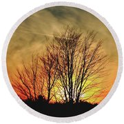 Round Beach Towel featuring the photograph Evening Fire by Bruce Patrick Smith