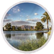 Round Beach Towel featuring the photograph Evening Fishing by Lynn Geoffroy