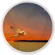 Round Beach Towel featuring the painting Evening Flight by David  Van Hulst