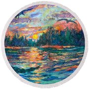 Round Beach Towel featuring the painting Evening Flight by Kendall Kessler