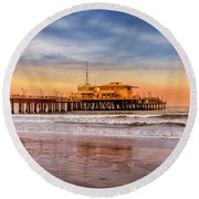 Evening Glow At The Pier Round Beach Towel