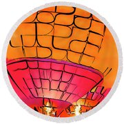 Round Beach Towel featuring the digital art Evening Glow Red And Yellow Watercolor by Kirt Tisdale