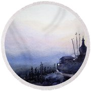 Evening Himalaya Landscape Round Beach Towel by Samiran Sarkar
