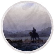 Evening Horseback Ride Round Beach Towel