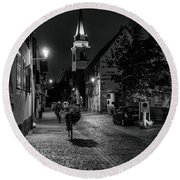 Round Beach Towel featuring the photograph Evening In Bergheim by Alan Toepfer
