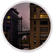 Round Beach Towel featuring the photograph Evening In Dumbo by Chris Lord